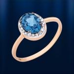 Золотое кольцо. Бриллиант & Топаз Лондон