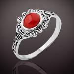 Кольцо с кораллом серебряное Эльза