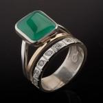 Кольцо с хризопразом. Золото & Серебро