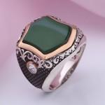 Перстень мужской серебряный. Хризопраз