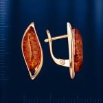 Золотые серьги с янтарём