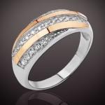 Золотой Век кольцо серебряное с золотом