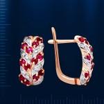 Золотые серьги с бриллиантами, рубинами
