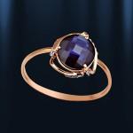 Золотое кольцо Сапфир и Фианитами