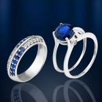 Серебряное кольцо Два в одном с наносапфирами