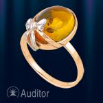 "Кольцо из золота 585 с янтарем ""Бантик"""