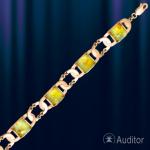 Браслет из русского золота 585 пробы с янтарем