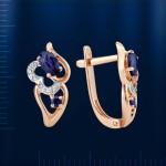 Бриллианты & Сапфиры. Серьги золотые
