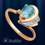 Кольцо из золота с топазом и цирконом