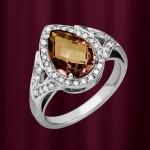 Золотое кольцо с раухтопазом и бриллиантами