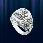 """Кольцо печатка из серебра """"Победоносец"""""""