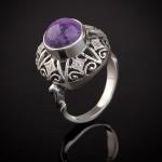 Кольцо серебряное. Чароит