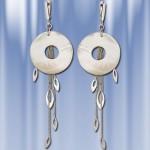 Серебряные серьги - подвески с перламутром