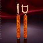 Серьги - подвески с янтарём
