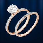 Золотое двойное кольцо. Фианит Сваровский®