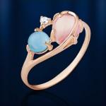 Кольцо золотое. Топаз & Розовый кварц