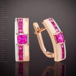 Золотые серьги. Рубин Корунд