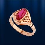 Кольцо с рубином. Русское золото