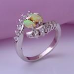 Кольцо с серебряное опал & фианиты