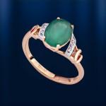 Золотое кольцо. Хризопраз & Бриллианты