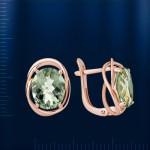 Зеленый аметист & Фианиты. Золотые серьги