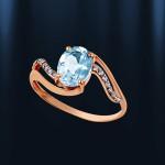 Золотое кольцо с топазом. Русское золото