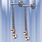 Серебряные серьги-пуссеты с подвесками