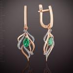 Золотые серьги - подвески. Бриллианты & Изумруды
