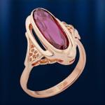 Кольцо золотое с корундом. Русское золото