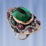 Серебряное кольцо. Рубин & Изумруд.