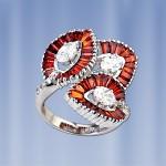 Кольцо серебряное Оранжевое настроение