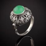 Кольцо серебряное. Хризопраз