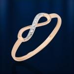 Золотое кольцо с бриллиантами Бесконечность