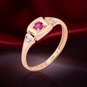 Рубин и Бриллианты. Золотое кольцо