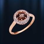 Золотое кольцо Раухтопаз & Фианит