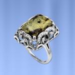 Кольцо серебряное Змеевик
