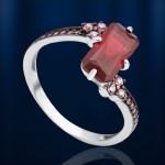 Серебряное кольцо. Наногранат & Фианиты