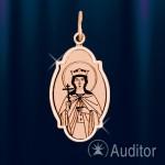 """Кулон золотая икона """"Святая Екатерина"""""""