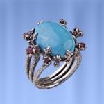Кольцо серебряное. Бирюза & Рубины