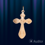 Крестик нательный золотой округлый