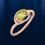 Кольцо золотое. Хризолит & Фианиты