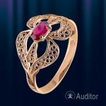 """Кольцо из золота с рубином """"Узоры"""""""