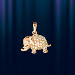 """Золотая подвеска """"Счастливый слон"""" с фианитами"""