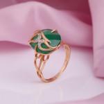 Золотое кольцо. Хризопраз & Фианиты