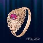 """Кольцо из золота с рубином """"Филигрань"""""""
