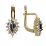 русские сережки с сапфирами в обрамлении бриллиантов
