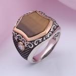 Перстень мужской серебряный. Кошачий глаз