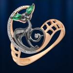 Кольцо Кошечка. Русское золото & Фианиты