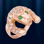 Кольцо из русского золота 585° с цирконами