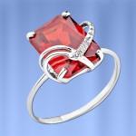 Кольцо серебряное. Рубин & Фианит